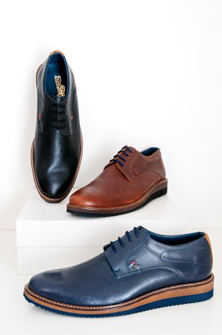 καφέ μπλέ μαύρο casual δερμάτινο παπούτσι